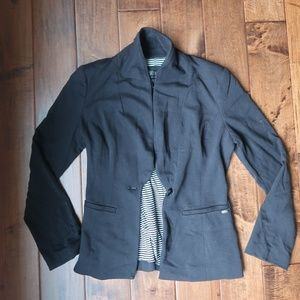Guess Black Cotton Blazer with striped lining